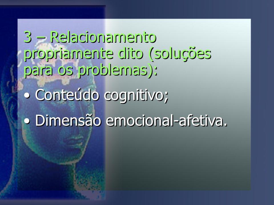 3 – Relacionamento propriamente dito (soluções para os problemas): Conteúdo cognitivo; Dimensão emocional-afetiva.