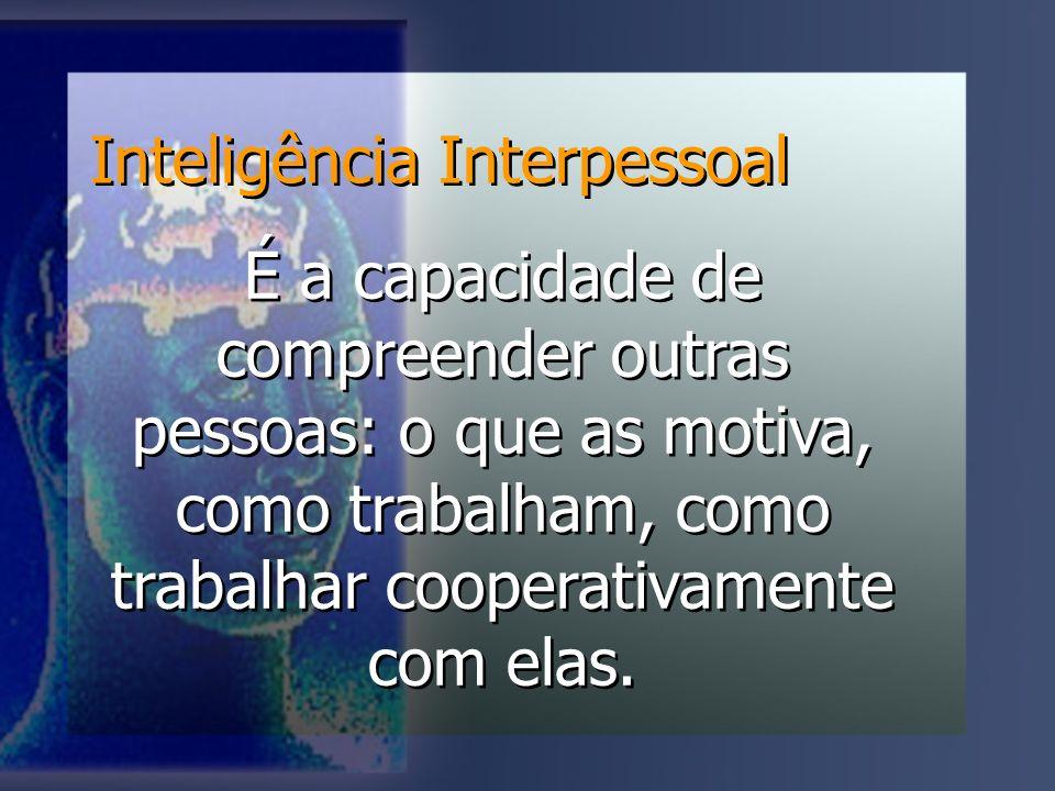 Inteligência Interpessoal É a capacidade de compreender outras pessoas: o que as motiva, como trabalham, como trabalhar cooperativamente com elas.