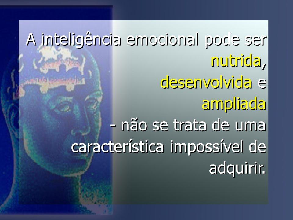A inteligência emocional pode ser nutrida, desenvolvida e ampliada - não se trata de uma característica impossível de adquirir.