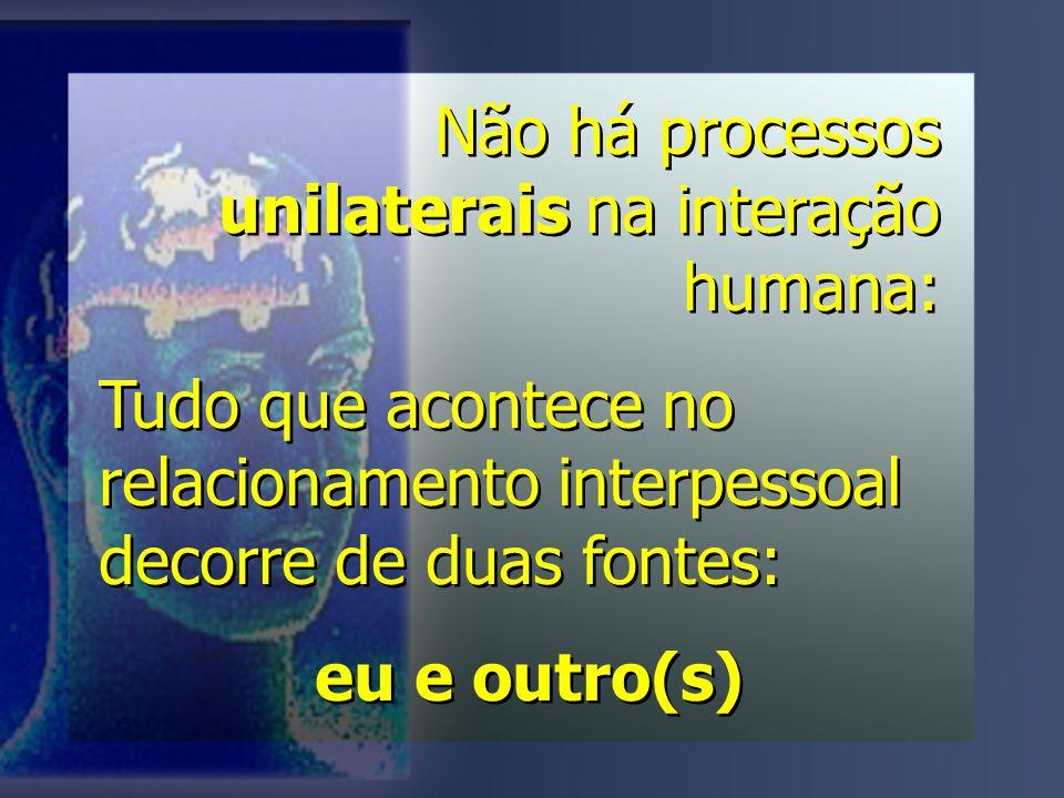 Não há processos unilaterais na interação humana: Tudo que acontece no relacionamento interpessoal decorre de duas fontes: eu e outro(s) Não há processos unilaterais na interação humana: Tudo que acontece no relacionamento interpessoal decorre de duas fontes: eu e outro(s)