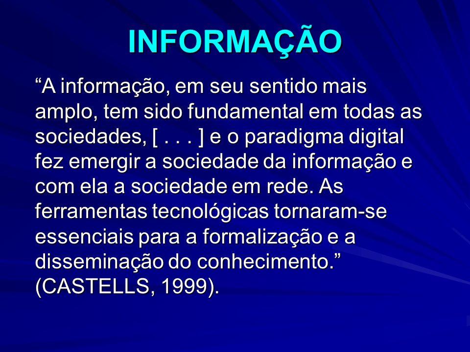 INFORMAÇÃO A informação, em seu sentido mais amplo, tem sido fundamental em todas as sociedades, [...
