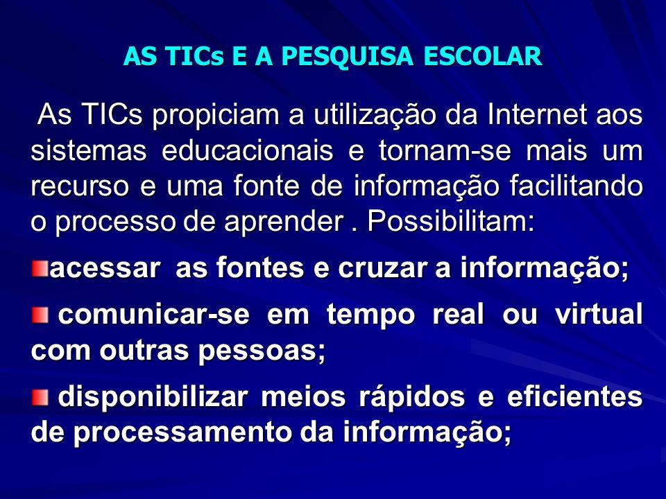 As TICs propiciam a utilização da Internet aos sistemas educacionais e tornam-se mais um recurso e uma fonte de informação facilitando o processo de aprender.