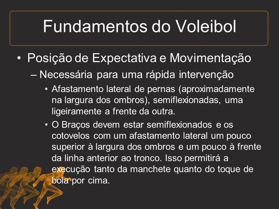 Fundamentos do Voleibol Posição de Expectativa e Movimentação –Necessária para uma rápida intervenção Afastamento lateral de pernas (aproximadamente na largura dos ombros), semiflexionadas, uma ligeiramente a frente da outra.