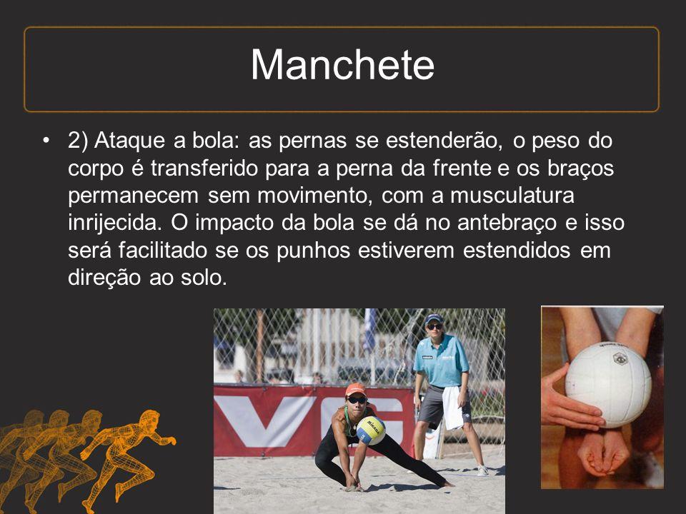 2) Ataque a bola: as pernas se estenderão, o peso do corpo é transferido para a perna da frente e os braços permanecem sem movimento, com a musculatura inrijecida.