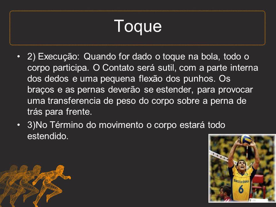 Toque 2) Execução: Quando for dado o toque na bola, todo o corpo participa.