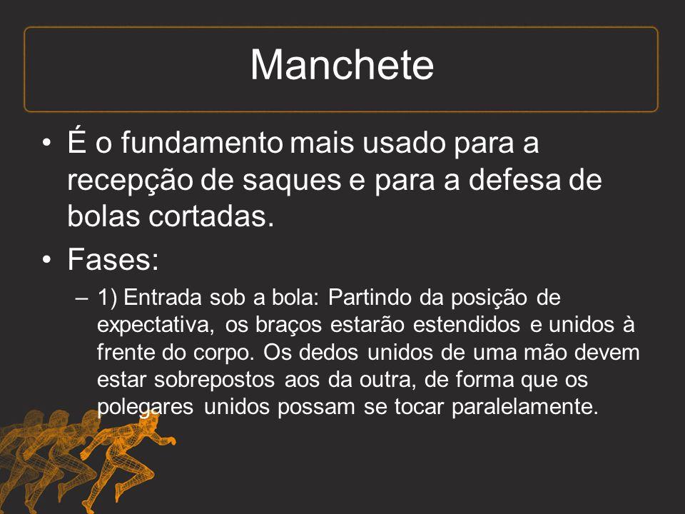 Manchete É o fundamento mais usado para a recepção de saques e para a defesa de bolas cortadas.
