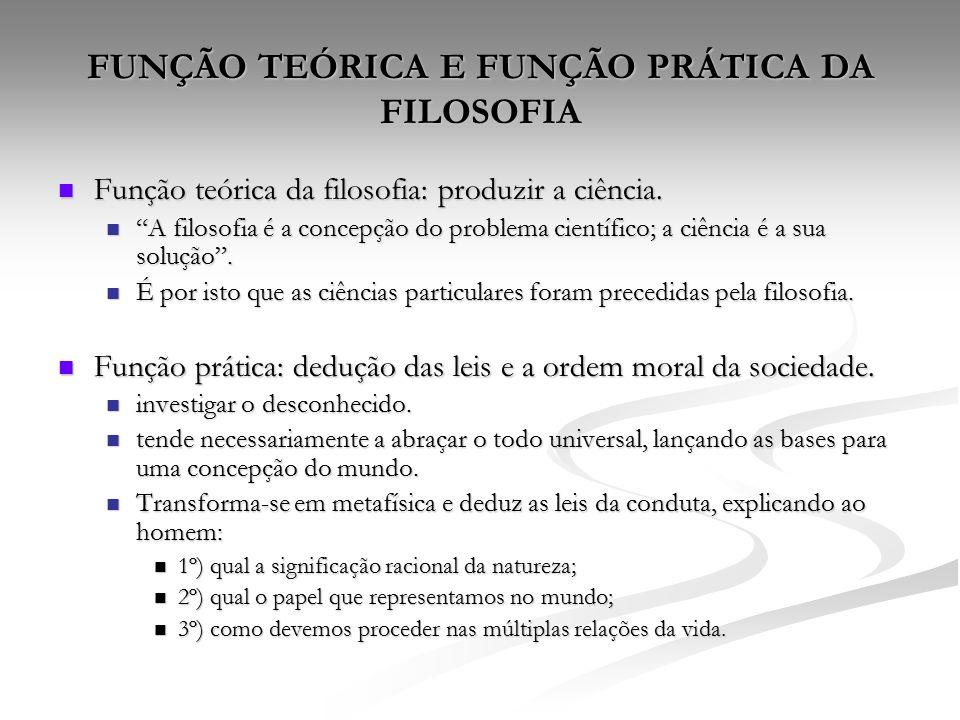 FUNÇÃO TEÓRICA E FUNÇÃO PRÁTICA DA FILOSOFIA Função teórica da filosofia: produzir a ciência.