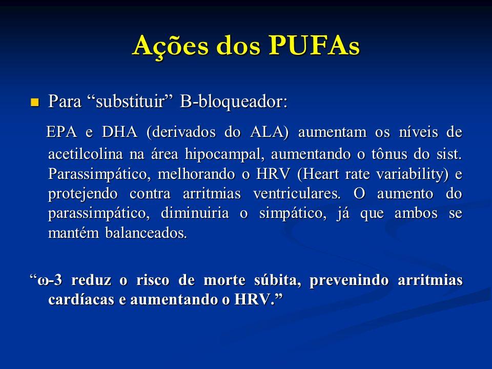 Ações dos PUFAs Para substituir B-bloqueador: Para substituir B-bloqueador: EPA e DHA (derivados do ALA) aumentam os níveis de acetilcolina na área hipocampal, aumentando o tônus do sist.