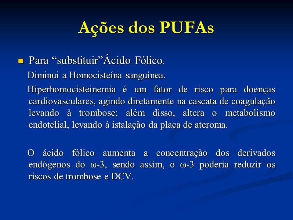 Ações dos PUFAs Para substituir Ácido Fólico : Para substituir Ácido Fólico : Diminui a Homocisteína sanguínea.