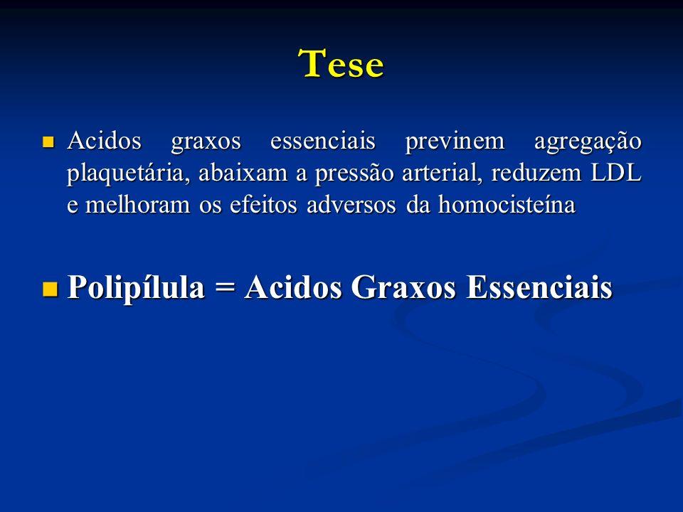Tese Acidos graxos essenciais previnem agregação plaquetária, abaixam a pressão arterial, reduzem LDL e melhoram os efeitos adversos da homocisteína Acidos graxos essenciais previnem agregação plaquetária, abaixam a pressão arterial, reduzem LDL e melhoram os efeitos adversos da homocisteína Polipílula = Acidos Graxos Essenciais Polipílula = Acidos Graxos Essenciais