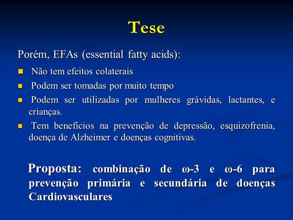 Tese Porém, EFAs (essential fatty acids): Não tem efeitos colaterais Não tem efeitos colaterais Podem ser tomadas por muito tempo Podem ser tomadas por muito tempo Podem ser utilizadas por mulheres grávidas, lactantes, e crianças.