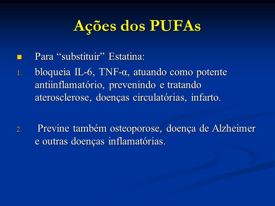 """Ações dos PUFAs Para """"substituir"""" Estatina: Para """"substituir"""" Estatina: 1. bloqueia IL-6, TNF-α, atuando como potente antiinflamatório, prevenindo e t"""