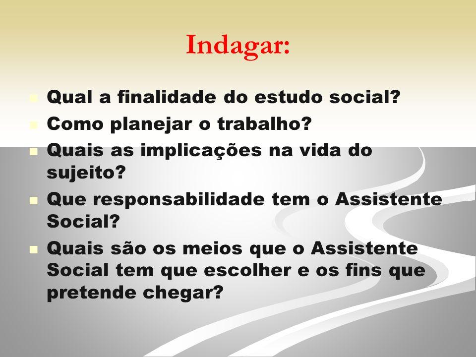 Indagar: Qual a finalidade do estudo social.Como planejar o trabalho.