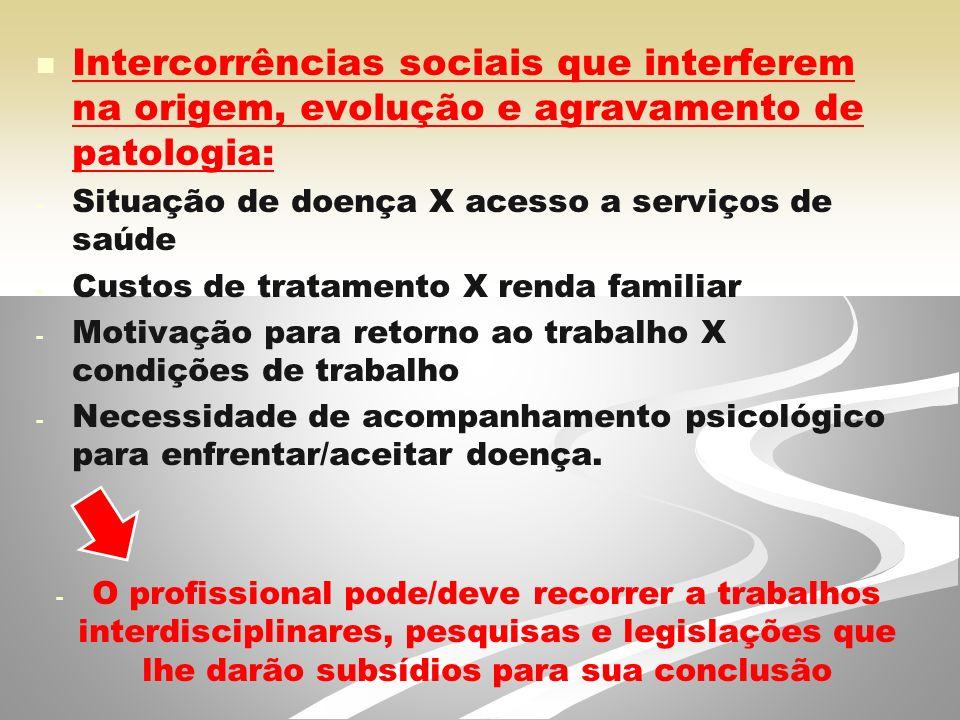 Intercorrências sociais que interferem na origem, evolução e agravamento de patologia: - - Situação de doença X acesso a serviços de saúde - - Custos de tratamento X renda familiar - - Motivação para retorno ao trabalho X condições de trabalho - - Necessidade de acompanhamento psicológico para enfrentar/aceitar doença.