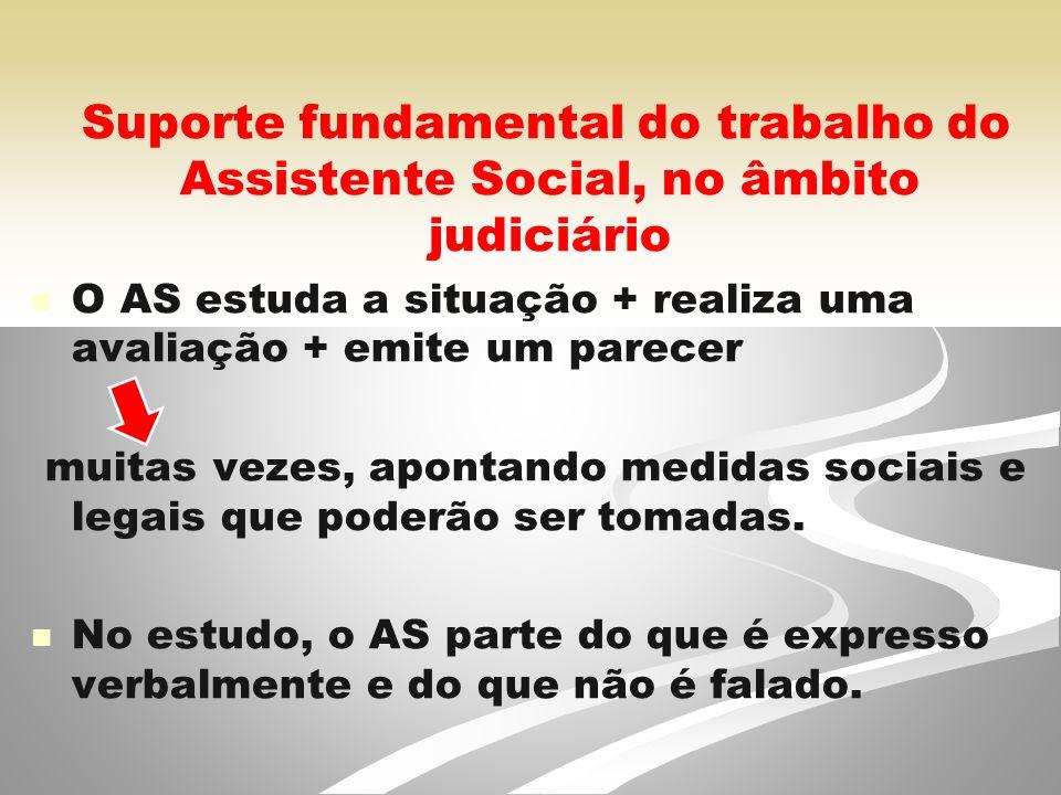 Suporte fundamental do trabalho do Assistente Social, no âmbito judiciário O AS estuda a situação + realiza uma avaliação + emite um parecer muitas vezes, apontando medidas sociais e legais que poderão ser tomadas.