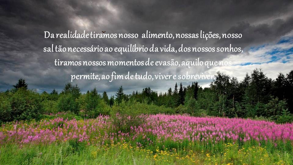 Da realidade tiramos nosso alimento, nossas lições, nosso sal tão necessário ao equilíbrio da vida, dos nossos sonhos, tiramos nossos momentos de evasão, aquilo que nos permite, ao fim de tudo, viver e sobreviver.