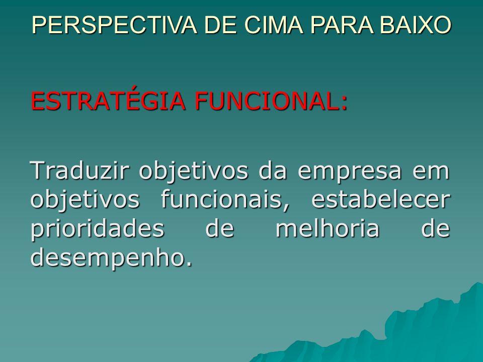ESTRATÉGIA FUNCIONAL: Traduzir objetivos da empresa em objetivos funcionais, estabelecer prioridades de melhoria de desempenho.
