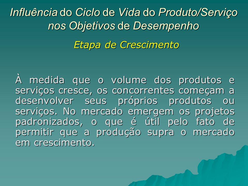 Influência do Ciclo de Vida do Produto/Serviço nos Objetivos de Desempenho À medida que o volume dos produtos e serviços cresce, os concorrentes começam a desenvolver seus próprios produtos ou serviços.