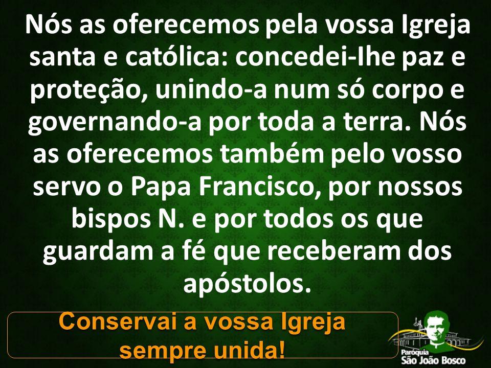 Nós as oferecemos pela vossa Igreja santa e católica: concedei-Ihe paz e proteção, unindo-a num só corpo e governando-a por toda a terra.