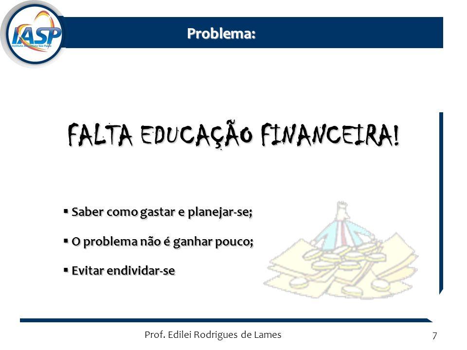 Prof. Edilei Rodrigues de Lames7 FALTA EDUCAÇÃO FINANCEIRA.