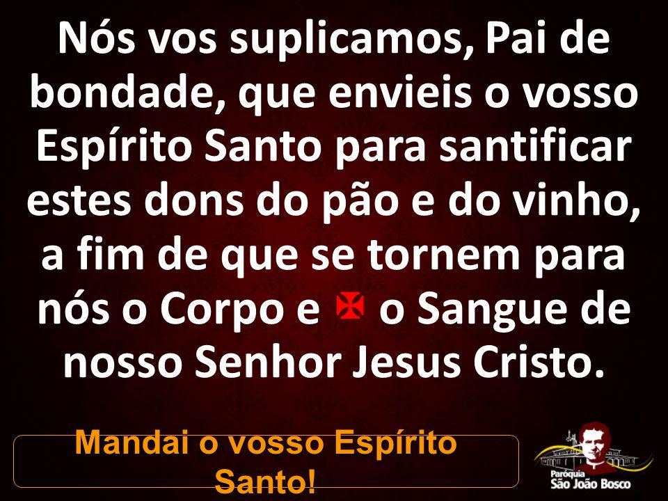 Nós vos suplicamos, Pai de bondade, que envieis o vosso Espírito Santo para santificar estes dons do pão e do vinho, a fim de que se tornem para nós o Corpo e  o Sangue de nosso Senhor Jesus Cristo.