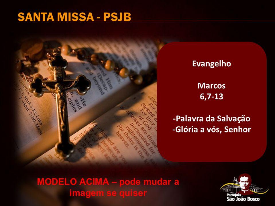 SANTA MISSA - PSJB Evangelho Marcos 6,7-13 -Palavra da Salvação -Glória a vós, Senhor MODELO ACIMA – pode mudar a imagem se quiser
