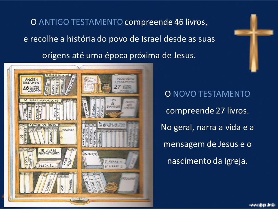 O ANTIGO TESTAMENTO compreende 46 livros, e recolhe a história do povo de Israel desde as suas origens até uma época próxima de Jesus. O NOVO TESTAMEN