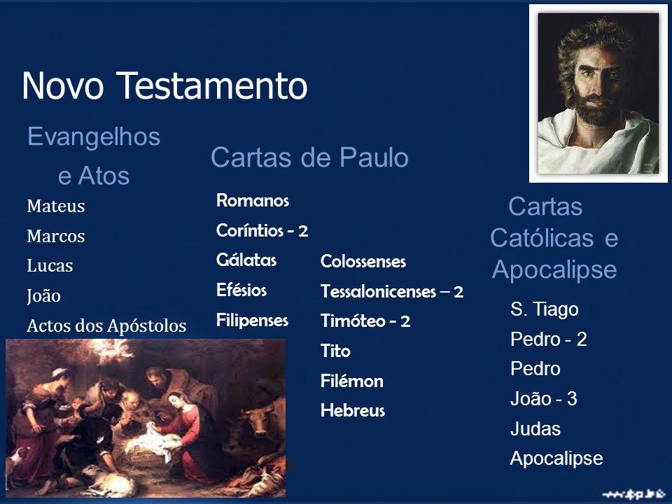 Cartas de Paulo Cartas Católicas e Apocalipse S. Tiago Pedro - 2 Pedro João - 3 Judas Apocalipse Romanos Coríntios - 2 Gálatas Efésios Filipenses Mate
