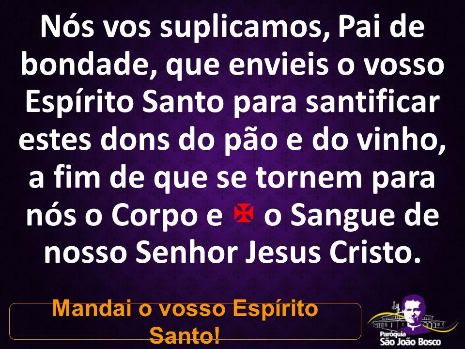 Nós vos suplicamos, Pai de bondade, que envieis o vosso Espírito Santo para santificar estes dons do pão e do vinho, a fim de que se tornem para nós o