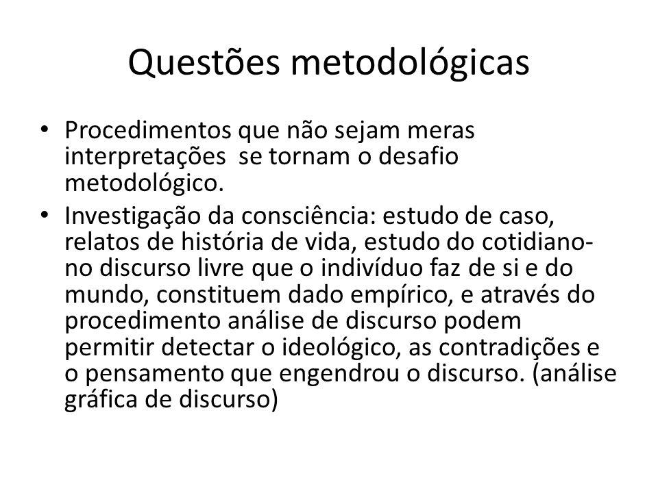 Questões metodológicas Procedimentos que não sejam meras interpretações se tornam o desafio metodológico.