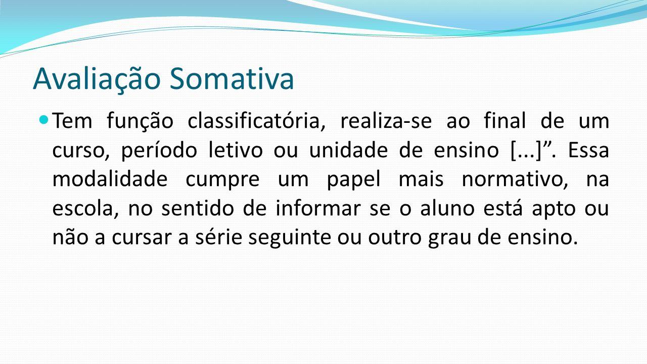 """Avaliação Somativa Tem função classificatória, realiza-se ao final de um curso, período letivo ou unidade de ensino [...]"""". Essa modalidade cumpre um"""