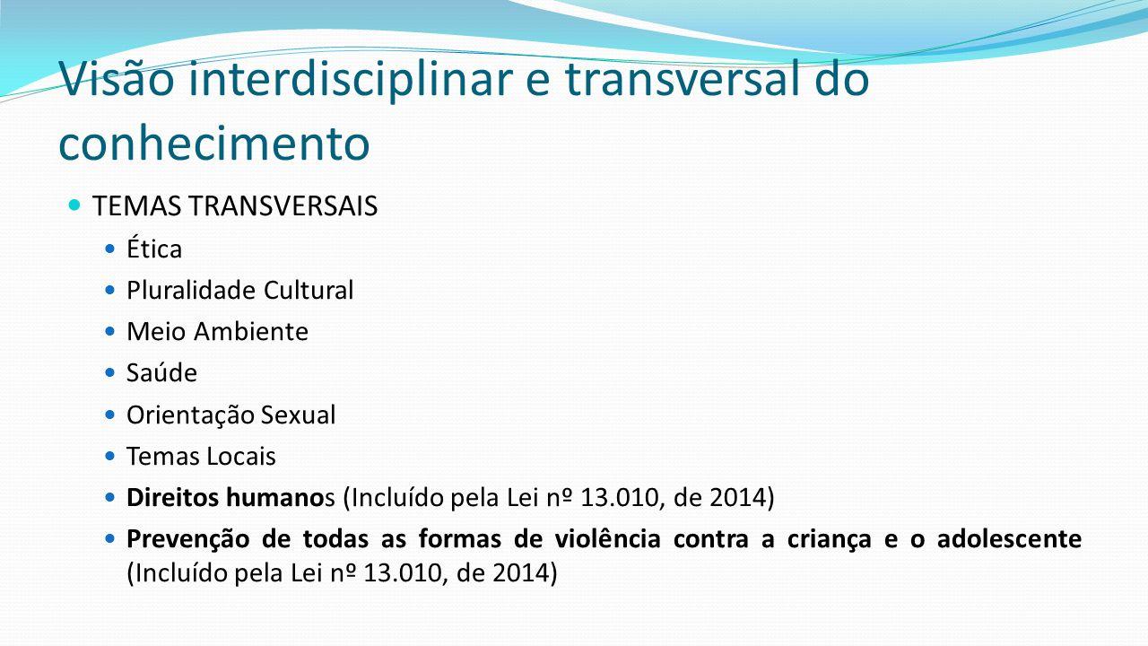 Visão interdisciplinar e transversal do conhecimento TEMAS TRANSVERSAIS Ética Pluralidade Cultural Meio Ambiente Saúde Orientação Sexual Temas Locais Direitos humanos (Incluído pela Lei nº 13.010, de 2014) Prevenção de todas as formas de violência contra a criança e o adolescente (Incluído pela Lei nº 13.010, de 2014)