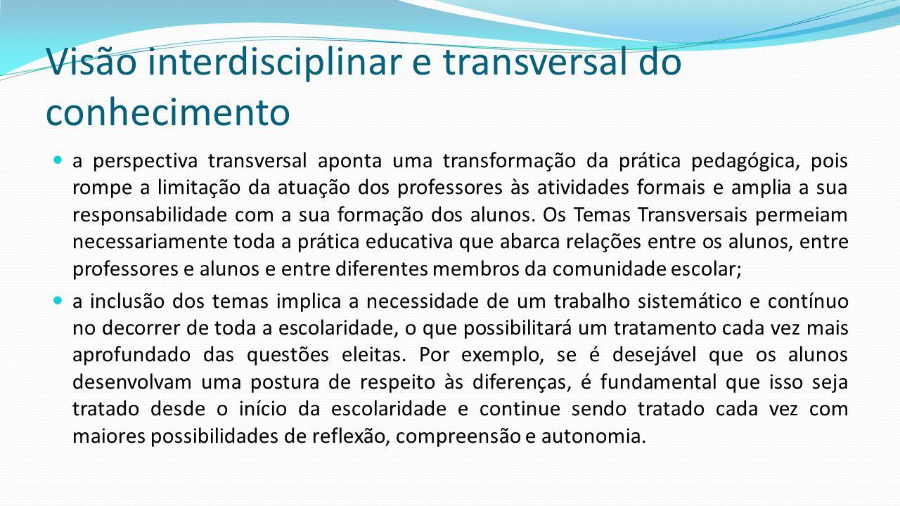 Visão interdisciplinar e transversal do conhecimento a perspectiva transversal aponta uma transformação da prática pedagógica, pois rompe a limitação