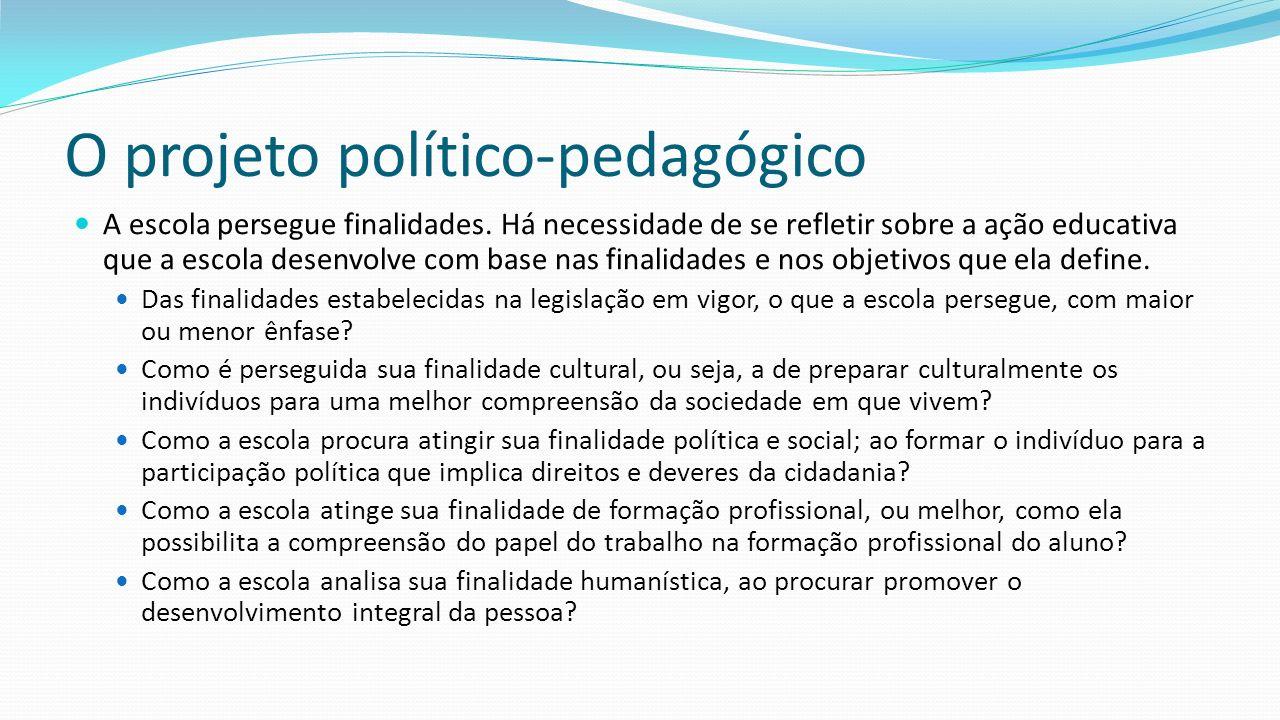 O projeto político-pedagógico A escola persegue finalidades.