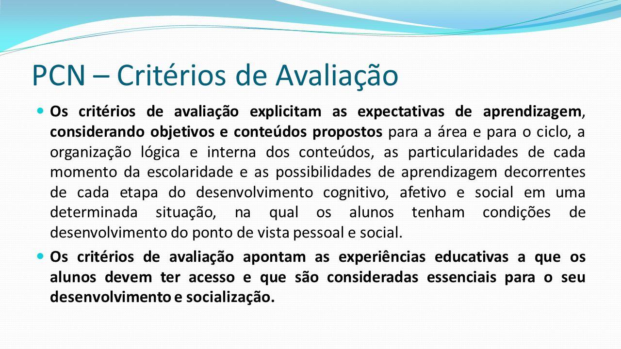 PCN – Critérios de Avaliação Os critérios de avaliação explicitam as expectativas de aprendizagem, considerando objetivos e conteúdos propostos para a