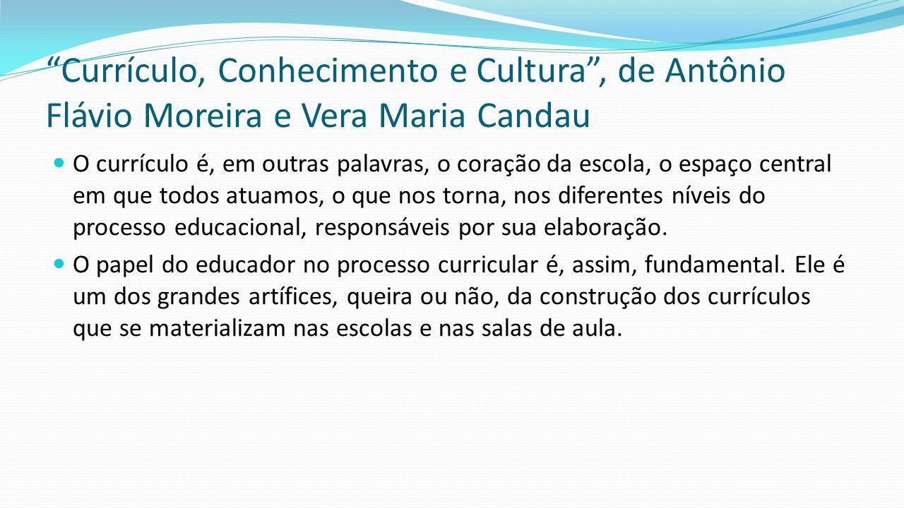 """""""Currículo, Conhecimento e Cultura"""", de Antônio Flávio Moreira e Vera Maria Candau O currículo é, em outras palavras, o coração da escola, o espaço ce"""