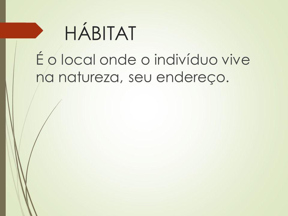 HÁBITAT É o local onde o indivíduo vive na natureza, seu endereço.