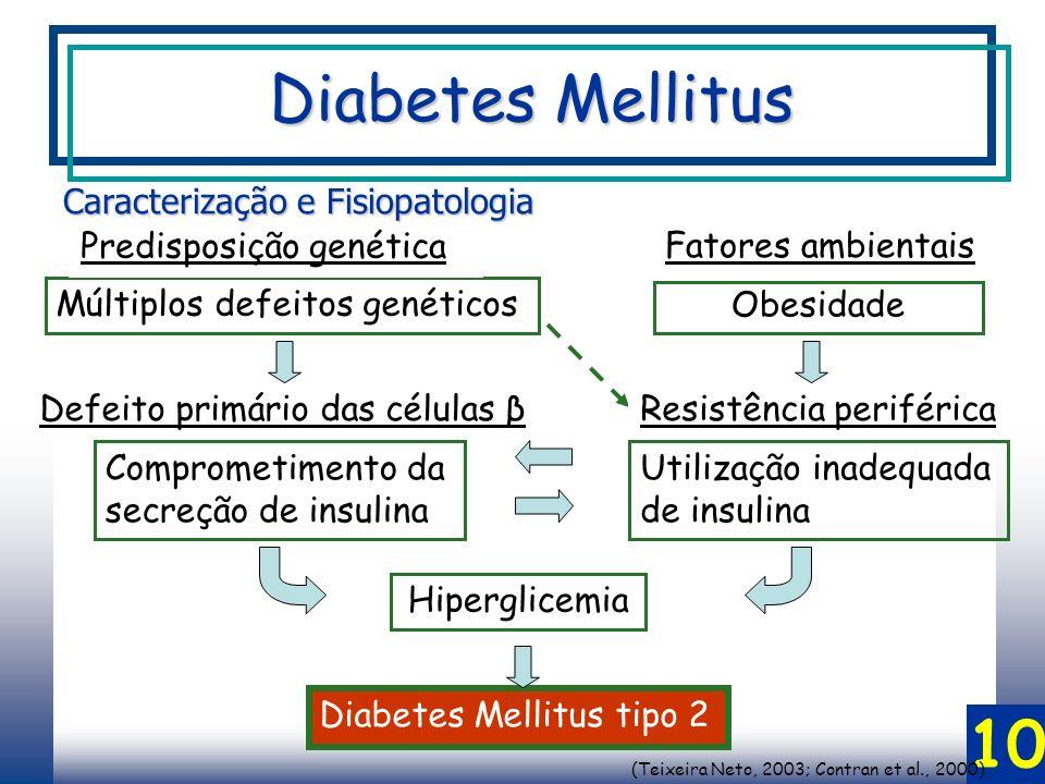 10 Múltiplos defeitos genéticos Hiperglicemia Obesidade Diabetes Mellitus tipo 2 Predisposição genética Caracterização e Fisiopatologia Fatores ambientais Defeito primário das células βResistência periférica Utilização inadequada de insulina Comprometimento da secreção de insulina (Teixeira Neto, 2003; Contran et al., 2000) Diabetes Mellitus