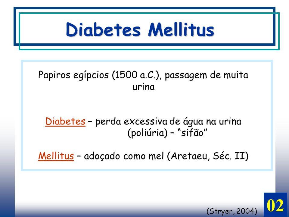 02 Papiros egípcios (1500 a.C.), passagem de muita urina Diabetes – perda excessiva de água na urina (poliúria) – sifão Mellitus – adoçado como mel (Aretaeu, Séc.