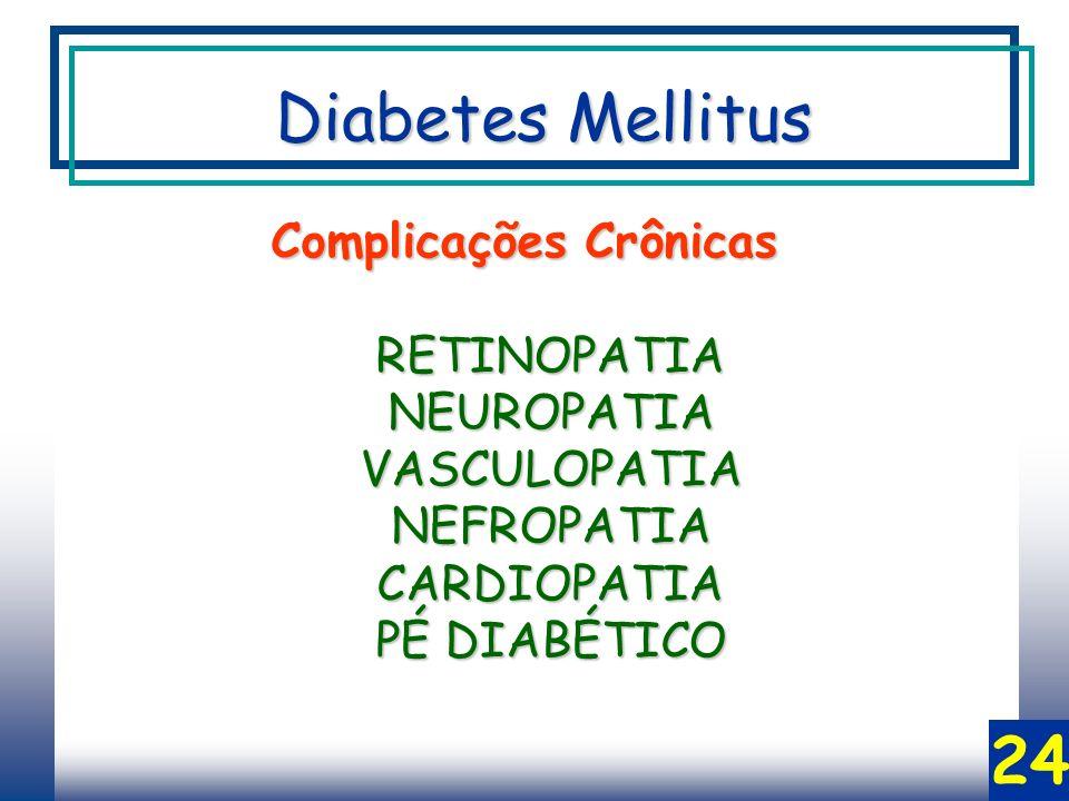 24 Complicações Crônicas RETINOPATIANEUROPATIAVASCULOPATIANEFROPATIACARDIOPATIA PÉ DIABÉTICO Diabetes Mellitus