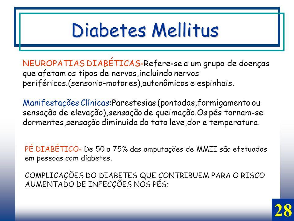 28 Diabetes Mellitus NEUROPATIAS DIABÉTICAS-Refere-se a um grupo de doenças que afetam os tipos de nervos,incluindo nervos periféricos.(sensorio-motores),autonômicos e espinhais.