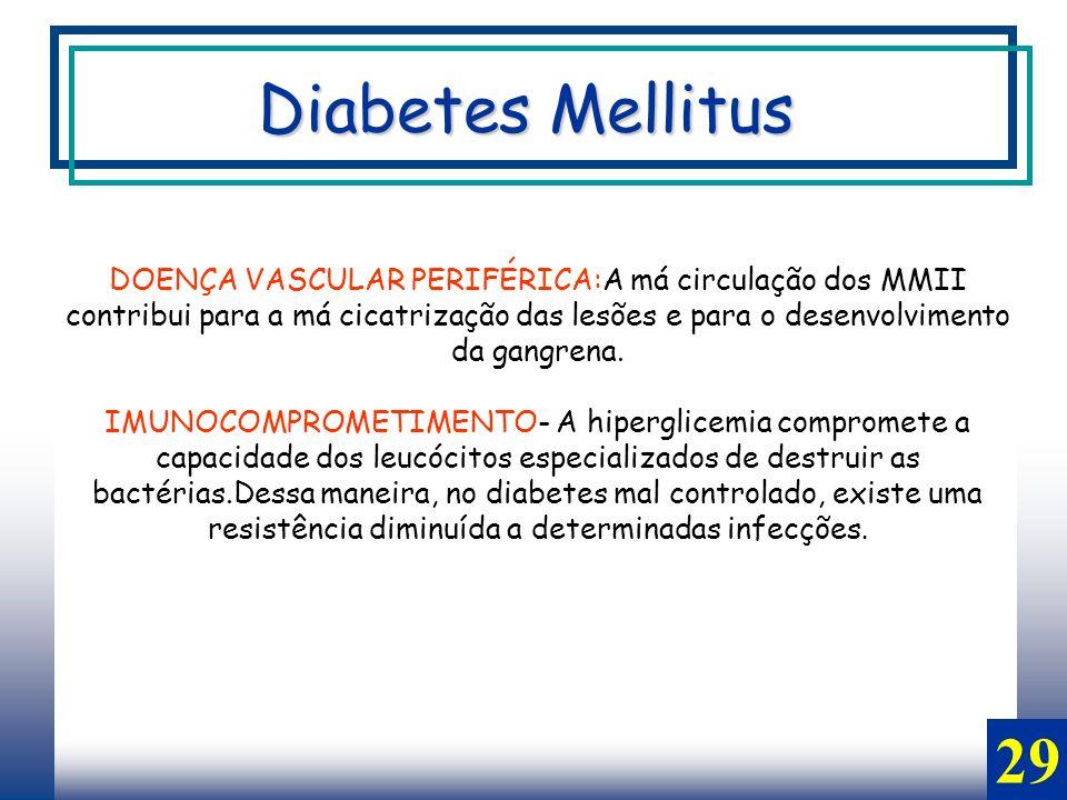 29 DOENÇA VASCULAR PERIFÉRICA:A má circulação dos MMII contribui para a má cicatrização das lesões e para o desenvolvimento da gangrena.