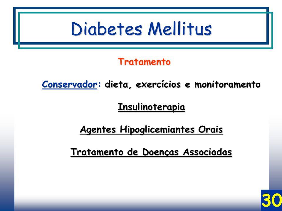 30 Tratamento Conservador: dieta, exercícios e monitoramento Insulinoterapia Agentes Hipoglicemiantes Orais Tratamento de Doenças Associadas Diabetes Mellitus