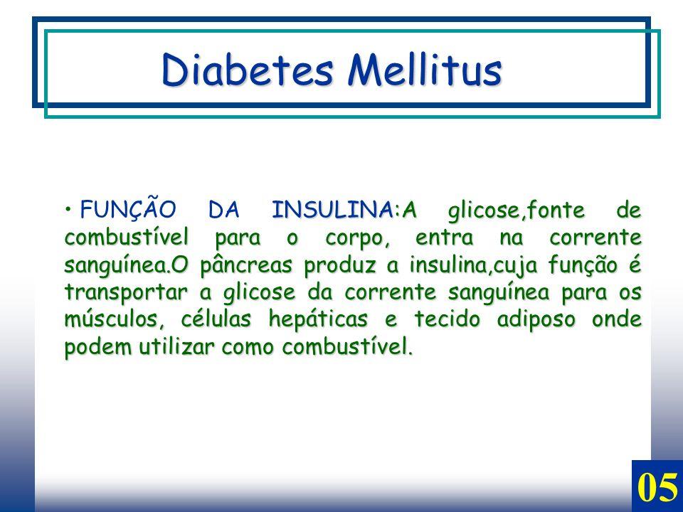 INSULINA:A glicose,fonte de combustível para o corpo, entra na corrente sanguínea.O pâncreas produz a insulina,cuja função é transportar a glicose da corrente sanguínea para os músculos, células hepáticas e tecido adiposo onde podem utilizar como combustível.