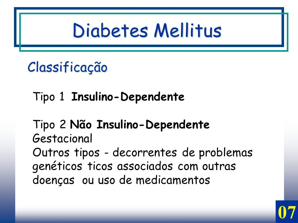 07 Classificação Diabetes Mellitus Tipo 1 Insulino-Dependente Tipo 2 Não Insulino-Dependente Gestacional Outros tipos - decorrentes de problemas genéticos ticos associados com outras doenças ou uso de medicamentos