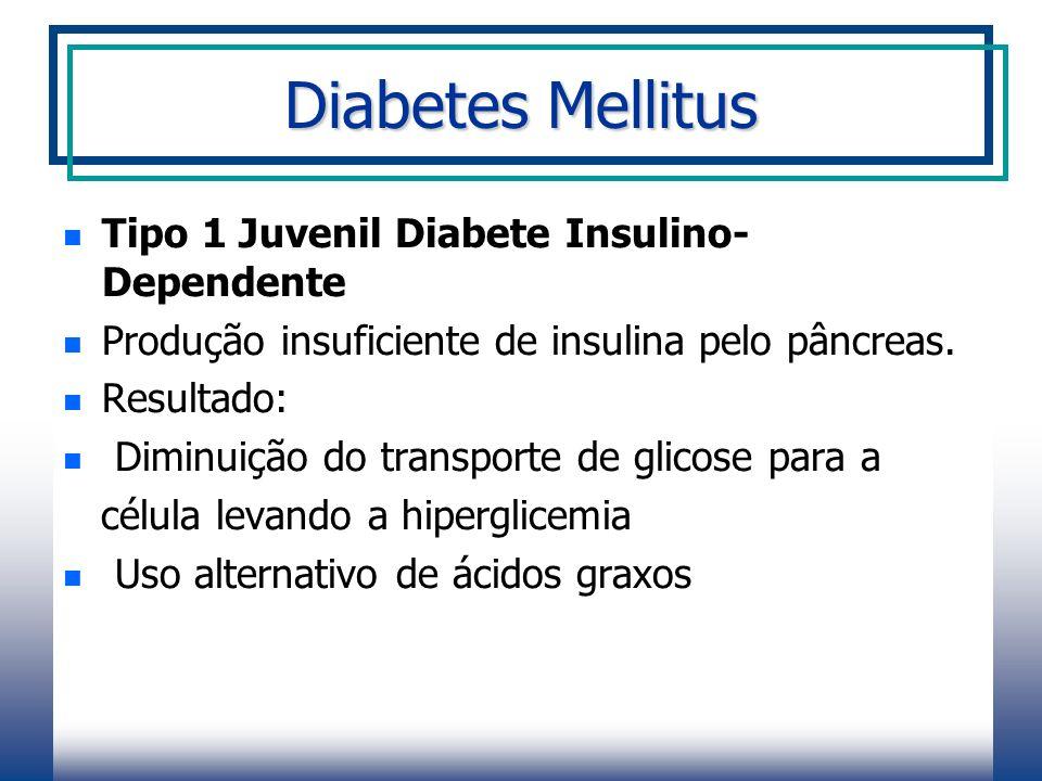Diabetes Mellitus Tipo 1 Juvenil Diabete Insulino- Dependente Produção insuficiente de insulina pelo pâncreas.
