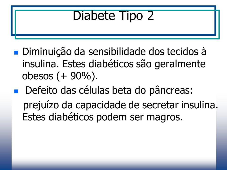 Diabete Tipo 2 Diminuição da sensibilidade dos tecidos à insulina.