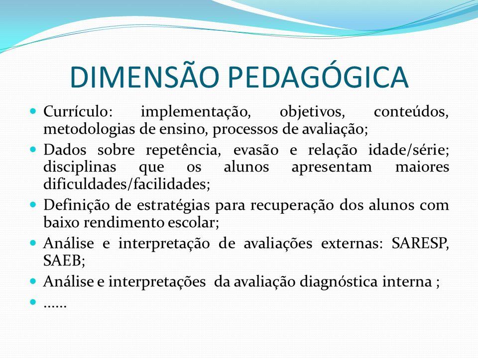 DIMENSÃO PEDAGÓGICA Currículo: implementação, objetivos, conteúdos, metodologias de ensino, processos de avaliação; Dados sobre repetência, evasão e r