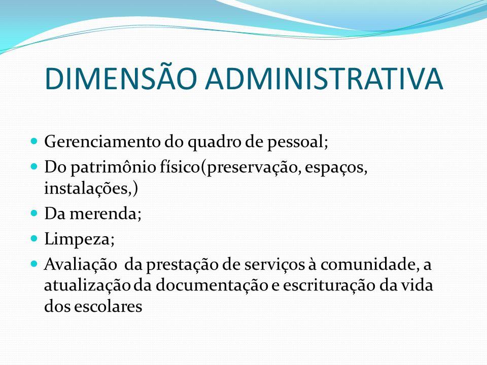 DIMENSÃO ADMINISTRATIVA Gerenciamento do quadro de pessoal; Do patrimônio físico(preservação, espaços, instalações,) Da merenda; Limpeza; Avaliação da