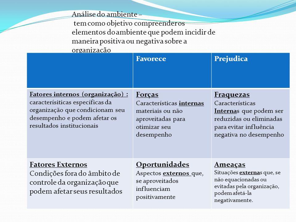 Análise do ambiente – tem como objetivo compreender os elementos do ambiente que podem incidir de maneira positiva ou negativa sobre a organização Fav